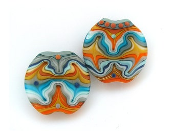 Glass Art Kleidoscope Lampwork lentil bead set (2). Ready to ship by Michal S