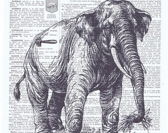 Elephant.African Animal.Book page print.Vintage.affordable.home deco,antique,french.buy 3 get 1 FREE.child.wall.eco.nursery.unisex gift.art