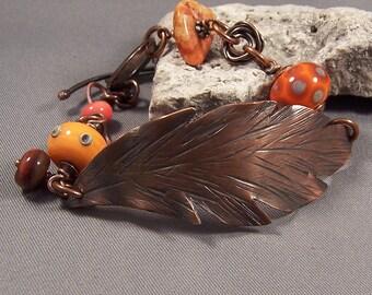 Handmade Hand Forged Copper and Lampwork Bead Bracelet by Monaslampwork -Handmade by Mona Sullivan Antique Copper Lampwork Organic Boho