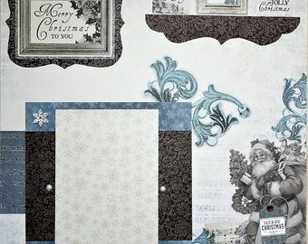 Premade Scrapbook Page - Merry Christmas To You - Vintage Look - 12x12 Layout