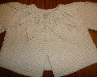 Hand Knit Leaf Yoked Baby Cardigan Sweater and Cap