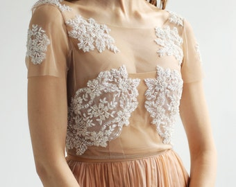 Sample Sale -short sleeve nude mesh and ivory beaded lace sheer separate--