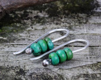 Mojave green turquoise sterling silver dangle earrings