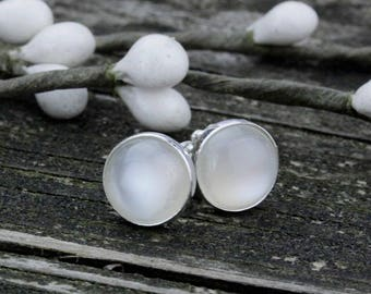Natural moonstone sterling silver large stud earrings