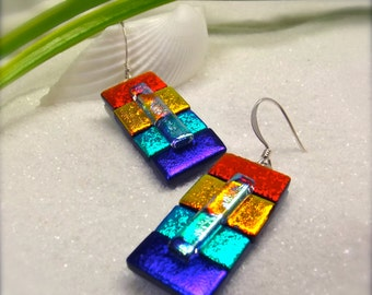 Color block earrings, dichroic glass, fused glass jewelry, sakura, Hana Sakura, handcrafted earrings, jewellery handmade, dichroic jewelry