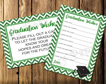 Printable Green Graduation Wishes- Instant Download