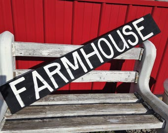Farmhouse sign 48 inches long pallet wood boards rustic Trimble crafts wall hanging decor indoor outdoor home barn DIY fixer upper