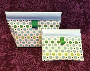 Dippy Dots Oilcloth Snappy Pouch - 5 Sizes