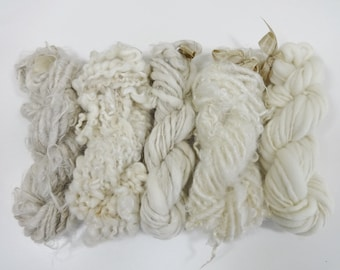 Natural Neutrals Handspun Art Yarn Mini Skein Collection Weaving Yarn Variety Pack cream ivory ecru