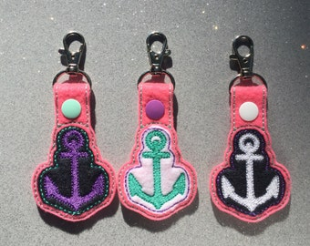 Anchor Embroidered Keychain, Key fob