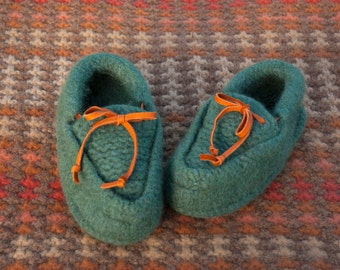 Hand Knit Felted Wool Moccasins in Teal Green