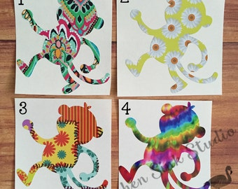 Monkey vinyl decal ~ patterned vinyl, choice of prints, various sizes! Great for tumblers! permanent vinyl sticker