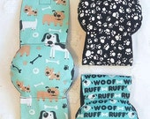 Male Dog  Belly Band Diapers Stop Marking many sizes set of 3 Aqua Dogs and Paws