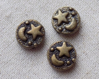 20 Antique Bronze tone Moon and Star Beads