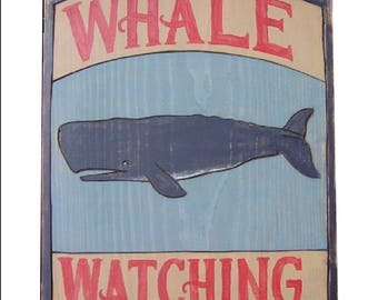 Whale Watching or Shark Alert Wooden Posters