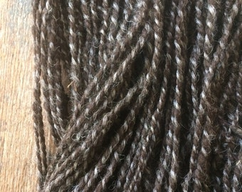 Natural black and natural grey two ply handspun, local wool yarn, aran handspun yarn, 140 yards, undyed handspun wool yarn,