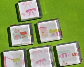 50% OFF - Little Pink Houses - Glass Magnet Set