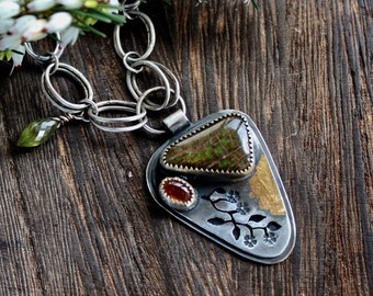 Ammonite, citrine, vesuvianite, sterling silver, 22 carat gold, handmade one of a kind statement necklace.