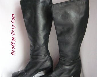 Vintage Stuart WEITZMAN Knee Boots / Size 7 m UK 4 .5 Eu 37 .5 / Black Leather ZIPPER Back / Chunky Heel made in Spain