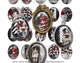 Gothic Gals and Clowns,Pierrot, 30mm x 40mm collage sheets, INSTANT Download, goth, red and black, clowns, gothic images,oval cabs,steampunk