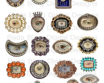 Thru My Lover's Eyes, Victorian era, Georgian era,for pendants, charms and brooches, digital collage sheets,INSTANT Digital Download,2 files