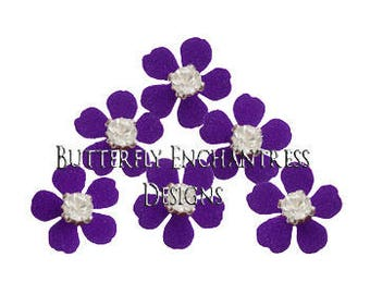 Bridal Hair Flowers, Wedding Hair Pins, Rhinestone Hair Accessories, Wedding Headpiece - 12 Dk Purple Remi Mini Plum Blossom Flowers
