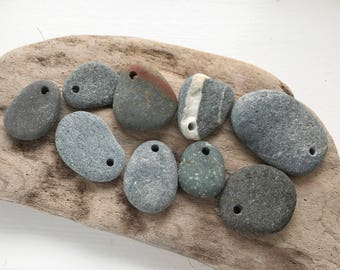 Drilled stone beads - Pebble beads - Natural stone beads - Alaska River stones - Beach pebbles - Bohemian bead supply - Raw stone - Eco bead