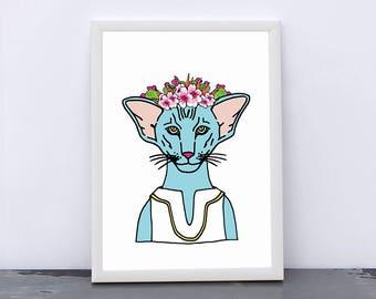 Art prints by Marta Fofi, cat print, Gatenco, art print, wall art prints,  illustration, illustration print, poster