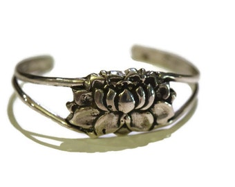Medium Lotus Flower Cuff in Sterling Silver