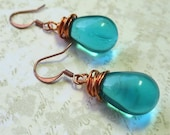 Aqua blue earrings simple czech glass beads with copper wire wrapping