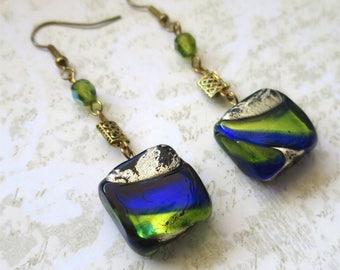 Earrings green blue and gold venetian glass bead dangle