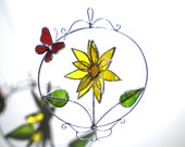 Radiant Bloom - 3D Stained Glass Nature Spinner - Sunflower Butterfly Spinning Flower Home Garden Decor Suncatcher (READY TO SHIP)