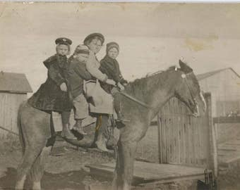 vintage photo 1910 Four Children Ride Horse on the Farm Names RPPC
