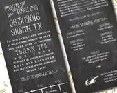 4x8 Double Sided Chalkboard Wedding Program // Custom Wedding Ceremony Programs // Wedding Timeline
