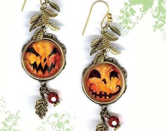 Pumpkin Patch Earrings - GeoForms SHIMMERZ Petite Glass Art Earrings - Happy Halloween PumpkinHeads