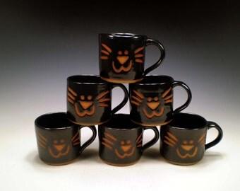 Black Cat Mug, Cat Lover Gift, Cat Pottery Mug, Handmade Stoneware Cat Mug, Ceramic Cat Mug