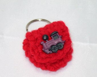 Crochet keychain Coin Cozy, coin holder, coin pouch, mini purse, coin purse, ring holder  -Red with Train