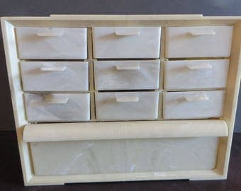 Vintage Sewing Box Akro-Mils Marblized plastic 10 Drawers full of vintage notions Estate fresh