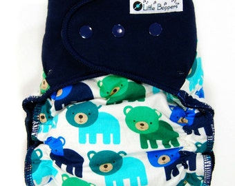 Made to Order Cloth Diaper or Cover - Woodland Bears (Woven) with Navy Cotton Lycra Stretchy Wings - Custom Nappy or Wrap