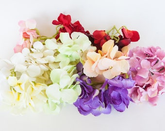 GRAB BAG #22 - 13 Bunches Silk Hydrangea in Mixed Colors - Silk Artificial Flowers