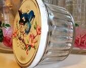 shabby chic jelly glass petite kerr jelly glass jar angel base jelly jar vintage jelly jar blue bird jelly jar pink rose salvaged glass bird