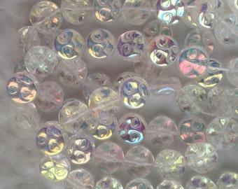 Crystal AB Full Moon Glass Beads Man On The Moon Face