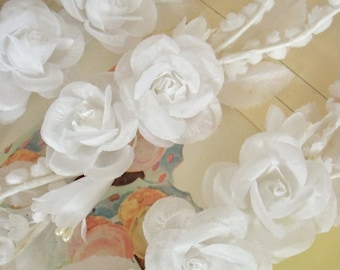 Vintage / Roses & Lily of the Valley Spray / White / Three Items / DIY Wedding / Cake Topper