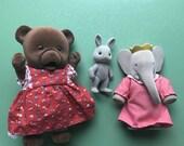 3 Flocked Animal Dolls, Flocked Babar Figure, Calico Critters, Teddy Bear, Grey Bunny, Elephant Doll