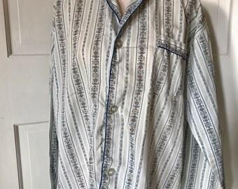 "Vintage WilkaJama Button Down Pajama Top, Men's Pajama Shirt, 51"" chest, Vertical Striped Print"