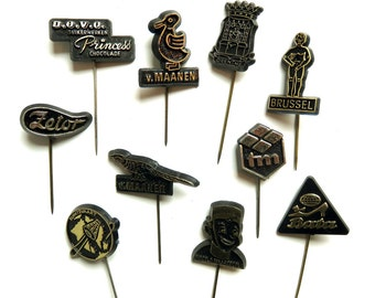 10 Vintage 1960's Plastic Stick Pins - Instant Collection - Lapel Pin Lot - Black and Gold Space Travel Brussels Piccolo Dutch Collectibles