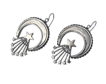 Crescent & Stars Earrings     moon silver gold dangle sterling star