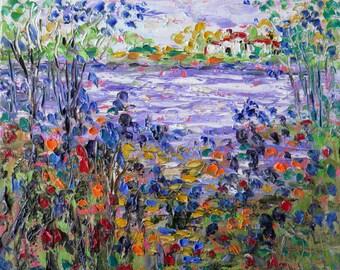 Blue Iris and Poppy Cottage  Stream  - photo print - 8 x 10 - BUY 2 get 1 FREE