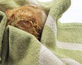 Handwoven Lime Tea Towel/ Kitchen Towel/ Cotton Towel/ Hand Towel/ Guest Towel/ Dish Towel/ Striped Towel/ Green Tea Towel/ Green Towel