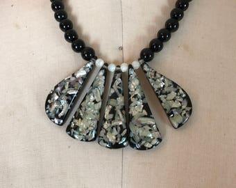1950s necklace lucite necklace confetti necklace abalone necklace vintage necklace bib necklace vintage jewelry